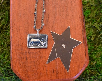 Fine Silver Reindeer Pendant | Hand Crocheted Necklace | Precious Metal Clay