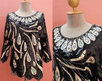 Black Sequin Top Sequin Blouse Beaded Top Beaded Blouse Long Sleeve Top Size L