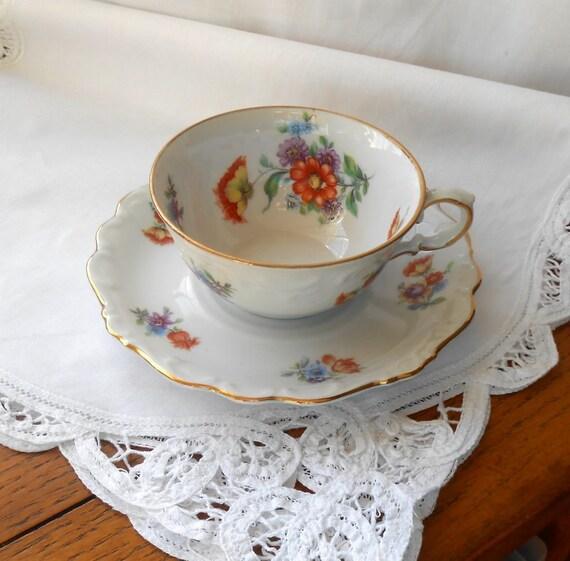 Vintage Bone China Tea Cup and Saucer Bavaria Schumann Porcelain Germany US Zone