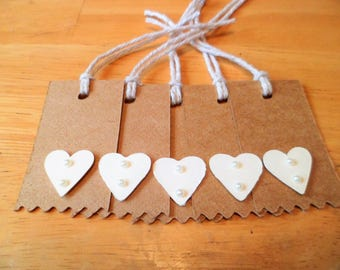 Kraft Card Wedding Favour/Gift Tags x 10 with Ivory Hearts and Pearls