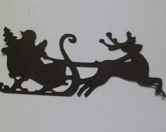 Silhouette Die Cut Flying Santa and Reindeer x 10