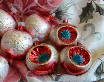 Vintage hand Blown Glass Christmas Ornaments Set of 9, 3 Indented Christmas Ornaments with blue starburst, Holiday Decor, Tree Decor