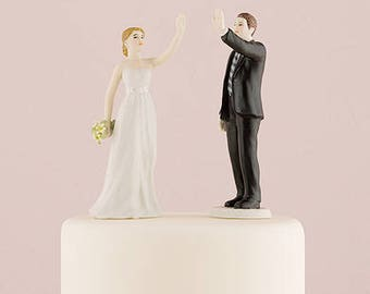 High Five Groom Bride and Groom Wedding Cake Topper - Choose your hair color - 9089
