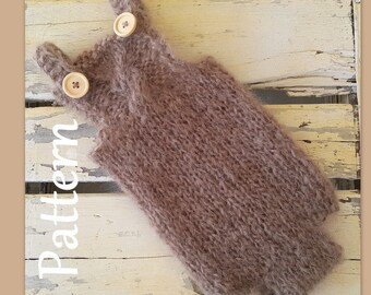 Newborn Baby Romper knitting PATTERN - baby dungaree pattern - baby knitting pattern - baby prop pattern - cable bib romper pattern