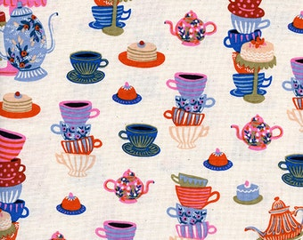 Wonderland - Mad Tea Party Neutral - Rifle Paper Co - Cotton and Steel (8018-02)