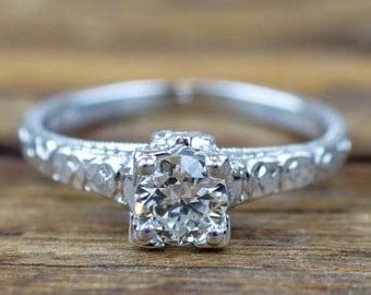 Vintage Floral Art Deco 18k White Gold .29 ctw Diamond Ring