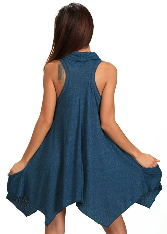Women's Cowl Neck Sleeveless Pixie Dress in Cloud Blue