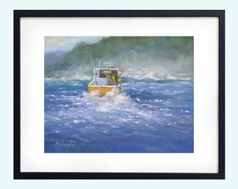 Ocean art print of a seascape painting of Lobster boats off the coast of Maine, Giclee, Ocean painting print, Print Ocean painting,  Art