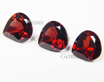 25 Pieces Lot AAA Quality Garnet Heart Shape Faceted Cut Loose Gemstone