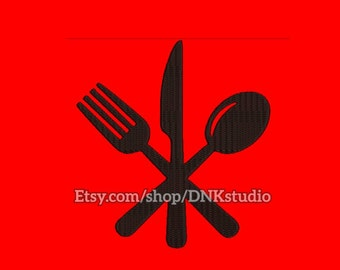 Knife fork spoon set Embroidery Design - 5 Sizes - INSTANT DOWNLOAD