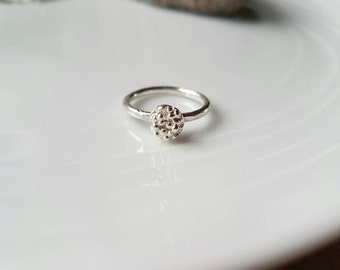 Sterling silver stacking ring with a bubble ball, ideal on it's own or with other stacking rings,made to order in Wales