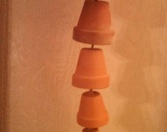 Vintage 5 Terra Cotta Pot Hanging Windchime