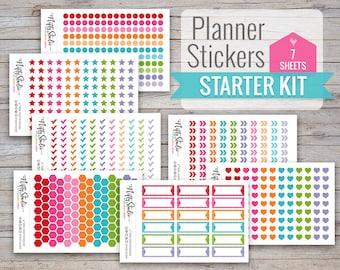 Basic Starter Kit of Planner Stickers Basic Bundle Stickers 7 sheets of stickers   Gift Pack of Stickers Gifts for women