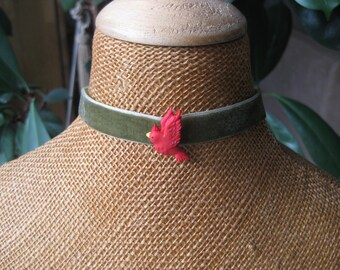 awesome choker for girls in velvet with a little red bird