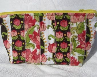Flower collage zipper bag
