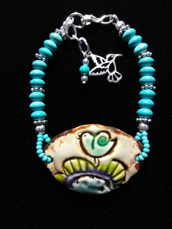Magnesite and Ceramic Pendant Bracelet B6151772