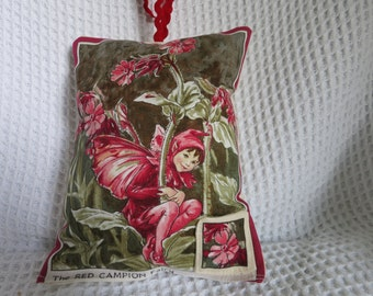 Boys' flower fairy tooth pillow.  Cicely Mary Barker fabric.  Hand made.