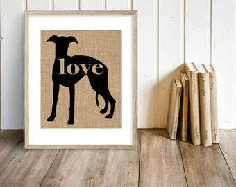 Whippet Love - Burlap Wall Art Print for Dog Lovers - Can Personalize With Name - Most Breeds Available, Rustic Farmhouse Silhouette (101p)
