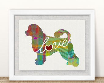 Portuguese Water Dog Love - A Colorful Watercolor Print for Dog Lovers - Dog Breed Gift - Can Be Personalized With Name - Pet Memorial