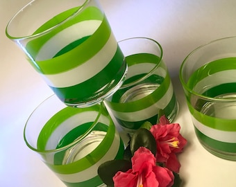 Set of four Georges Briard Cabana striped green glasses