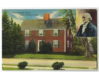 West Hartford Connecticut Vintage Linen Postcard | Noah Webster Home |  1940s CT Travel Souvenir,