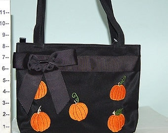 Pumpkin Thanksgiving Halloween Orange Embroidered Black Bow Purse, 80727