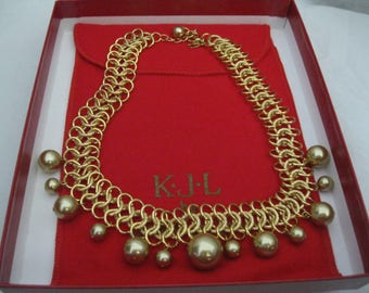 Kenneth Jay Lane KJL Gold Tone 13th Anniversary Necklace