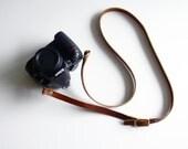 Slim leather camera strap / adjustable camera strap - adjustable (Brown)