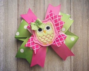 Pink and Lime Green Spring, Summer Owl Hair Bow or Bow & Headband Set
