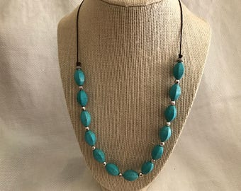 Turquoise and Silver Beaded Leather Necklace * Boho * Chan Luu Inspired * Turquoise Knotted Necklace