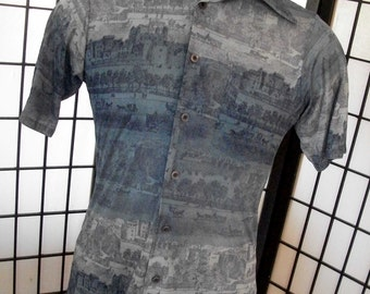 Vintage men's blue horse & buggy retro mod disco boogie thin groovy short sleeve 70's shirt s m