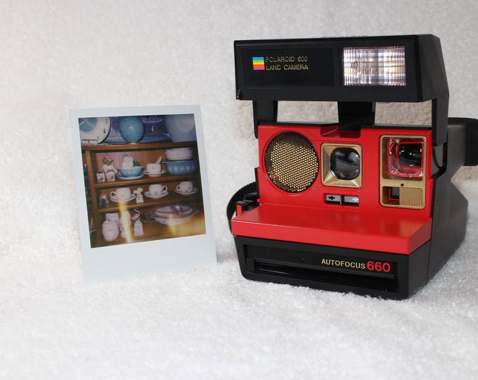 Autofocus Red and Gold Polaroid 660 - cleaned, tested and updated with custom colors