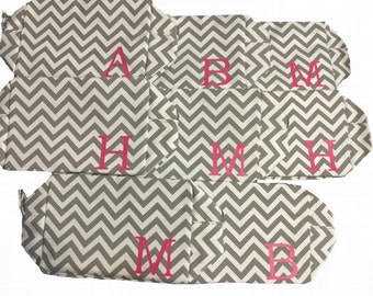 Monogrammed Chevron Cosmetic Bag, Bridesmaids Gifts, Preppy Birthday Gift, Personalized Makeup Bag