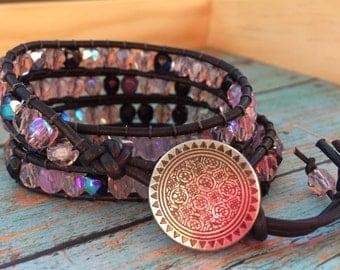 Purple Beaded Leather Wrap Bracelet, Triple Wrap Bracelet, Silver Button Closure, Czech Glass Beads, Dangle Beads, Adjustable Closure