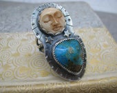 Reserved for  Brandee   ~~~ sleepy moon and turquoise ring