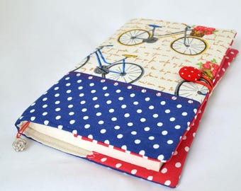 Bicycle fabric book cover Fabric notebook cover A5 Notebook cover Bible cover Paperback book cover Paperback protector Book protector
