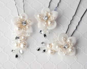 Bridal Hair Pin Set of Ivory Chiffon Flowers ivory Pearls and Rhinestones Wedding Accessories