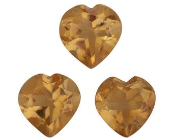 Brazilian Citrine Heart Cut Loose Gemstone Set of 3 1A Quality 6mm TGW 1.50 cts.