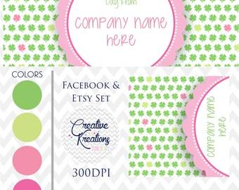 Timeline Banner St. Patrick's Day Facebook Cover Set Facebook Business Page Set - Digital Files