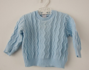 Vintage baby blue cable sweater
