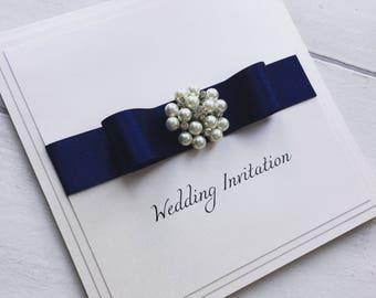 Pearl cluster wedding invitation, handmade wedding invite with satin bow, luxury wedding invitation sample