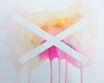 orange and pink ABSTRACT watercolor painting
