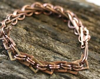 Zipper Pulls Bracelet, Mixed Metal Bracelet, Mixed Metal Chain Bracelet, Brass,Copper Pull Bracelet, Chain Bracelet, Copper Bracelet #1838