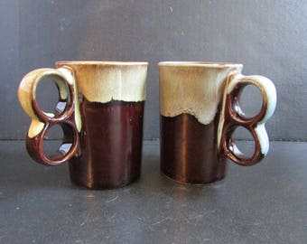 Vintage Trigger Handle Mugs Mirror Drip Redware