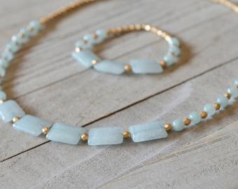 All About Aqua Necklace - Aqua and Gold