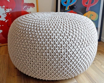 Good Knitted Pouf Poof, Ottoman, Footstool, Home Decor, Pillow, Bean Bag,