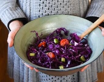 Ceramic big bowl, Green blue bowl, Big salad bowl, Serving bowl, Large fruit bowl, Pasta bowl, Rustic ceramic bowl, Israel ceramic, Mom gift
