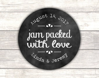 Jam packed with love stickers Chalk - Jam wedding favors - Jam stickers - Wedding stickers - Wedding labels - Chalkboard stickers (RW099)