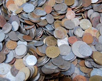 World Coins Currency 3lbs or 4lbs -Various  BENT, BRUISED, DISCOLORED