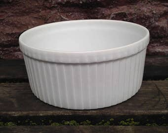 "Vintage Pillivuyt France Soufflé Dish #752 French White 5 1/2"" Ribbed / Pleated Casserole Baking Serving Dish"